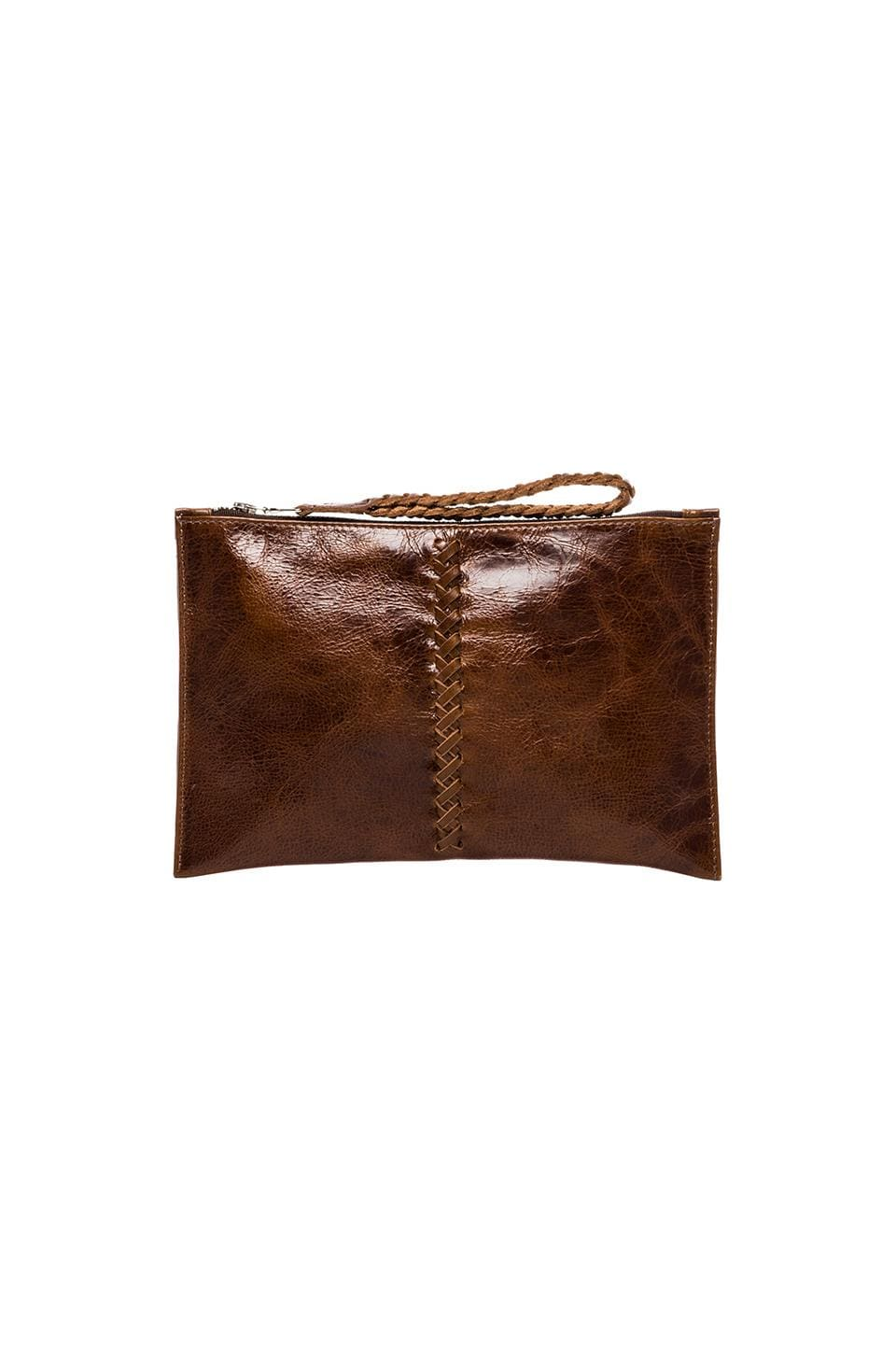 Tylie Small Crazy Horse Clutch in Saddle