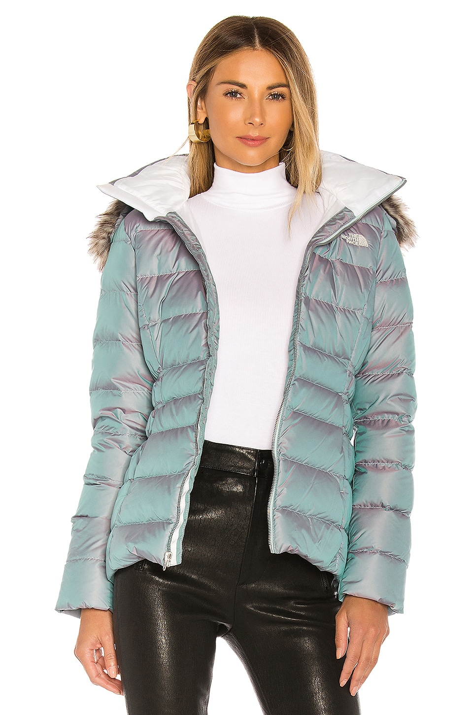 The North Face Gotham Jacket II With Faux Fur Trim in Blue Frost Iridescent