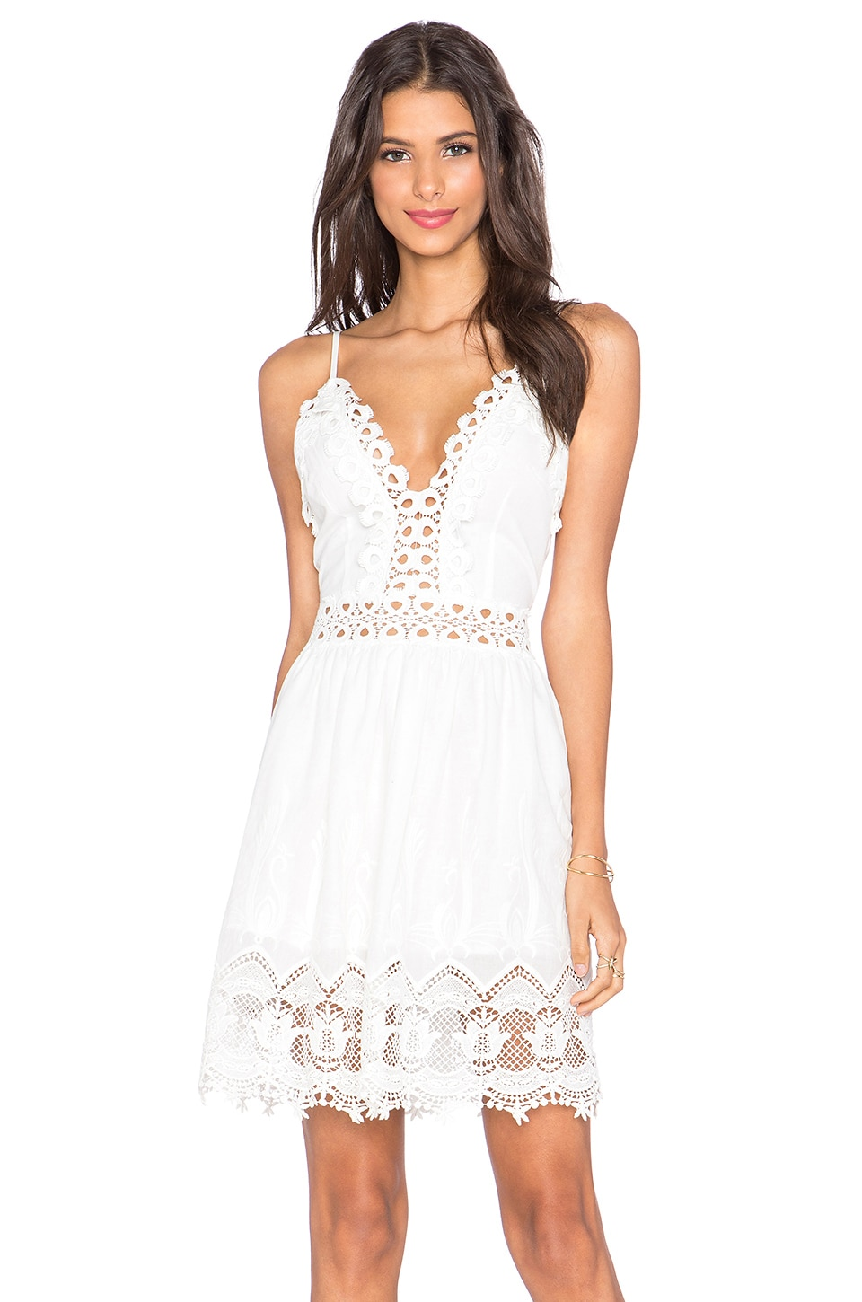 Toby Heart Ginger x Love Indie Daydreamer Crochet Mini Dress in White