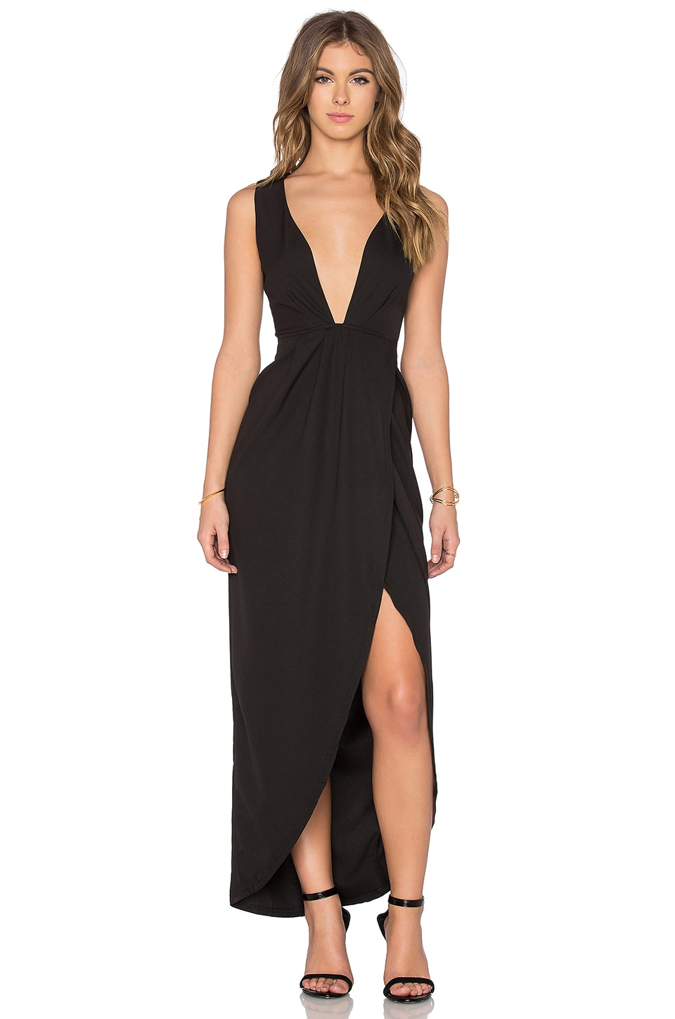 Toby Heart Ginger x Love Indie Lina Cross Front Maxi Dress in Black