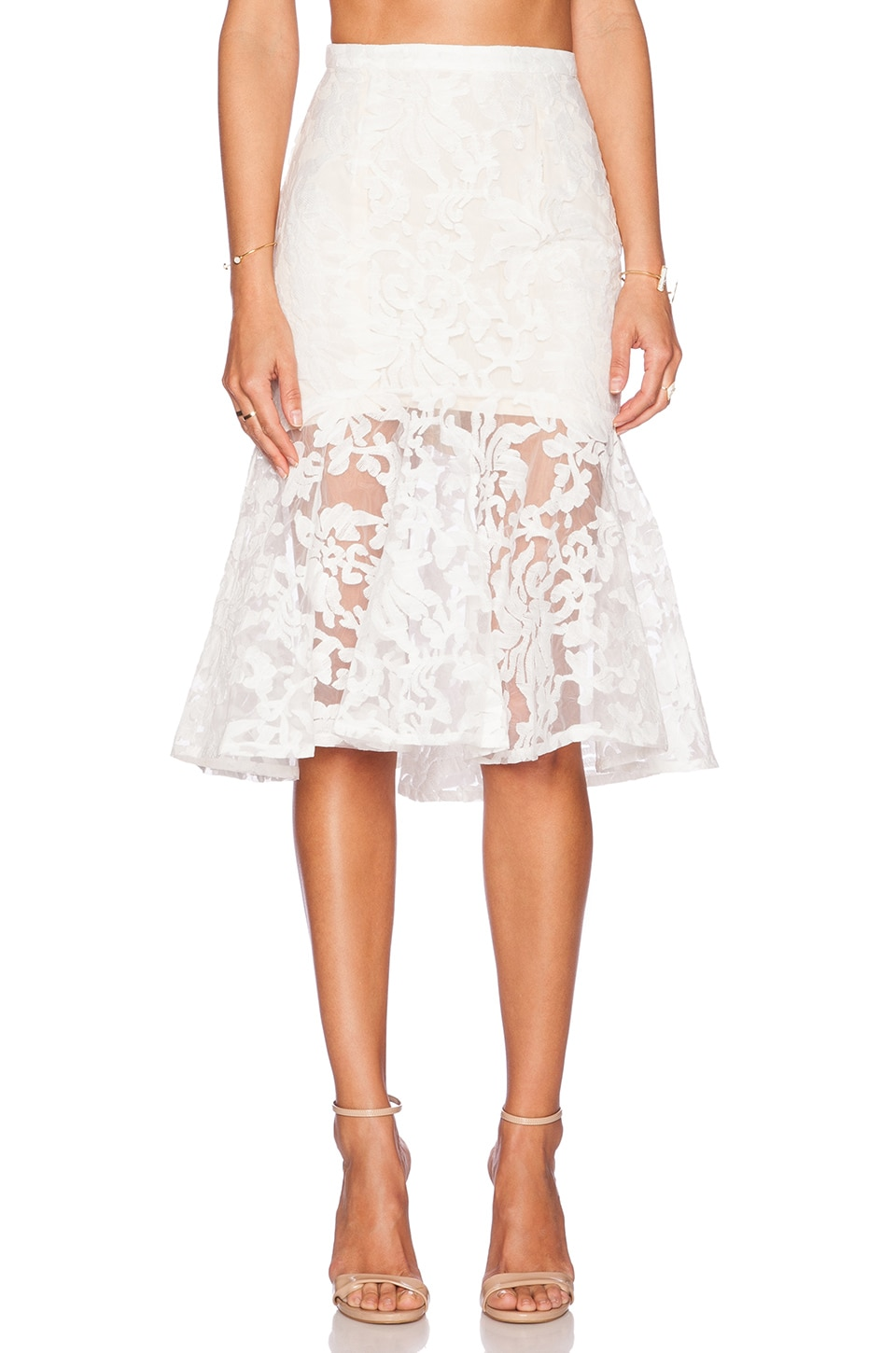 Toby Heart Ginger x Love Indie Ariel Frill Midi Skirt in White & Nude