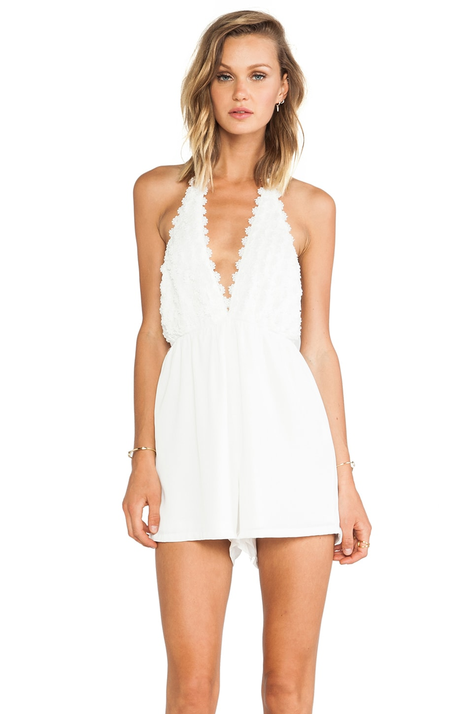 Toby Heart Ginger Daisy Halter Playsuit in White