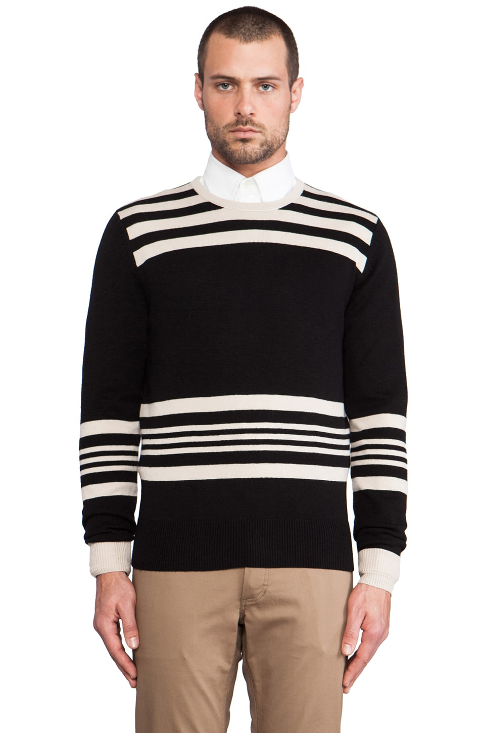 TODD SNYDER Shoulder Stripe Crew in Black