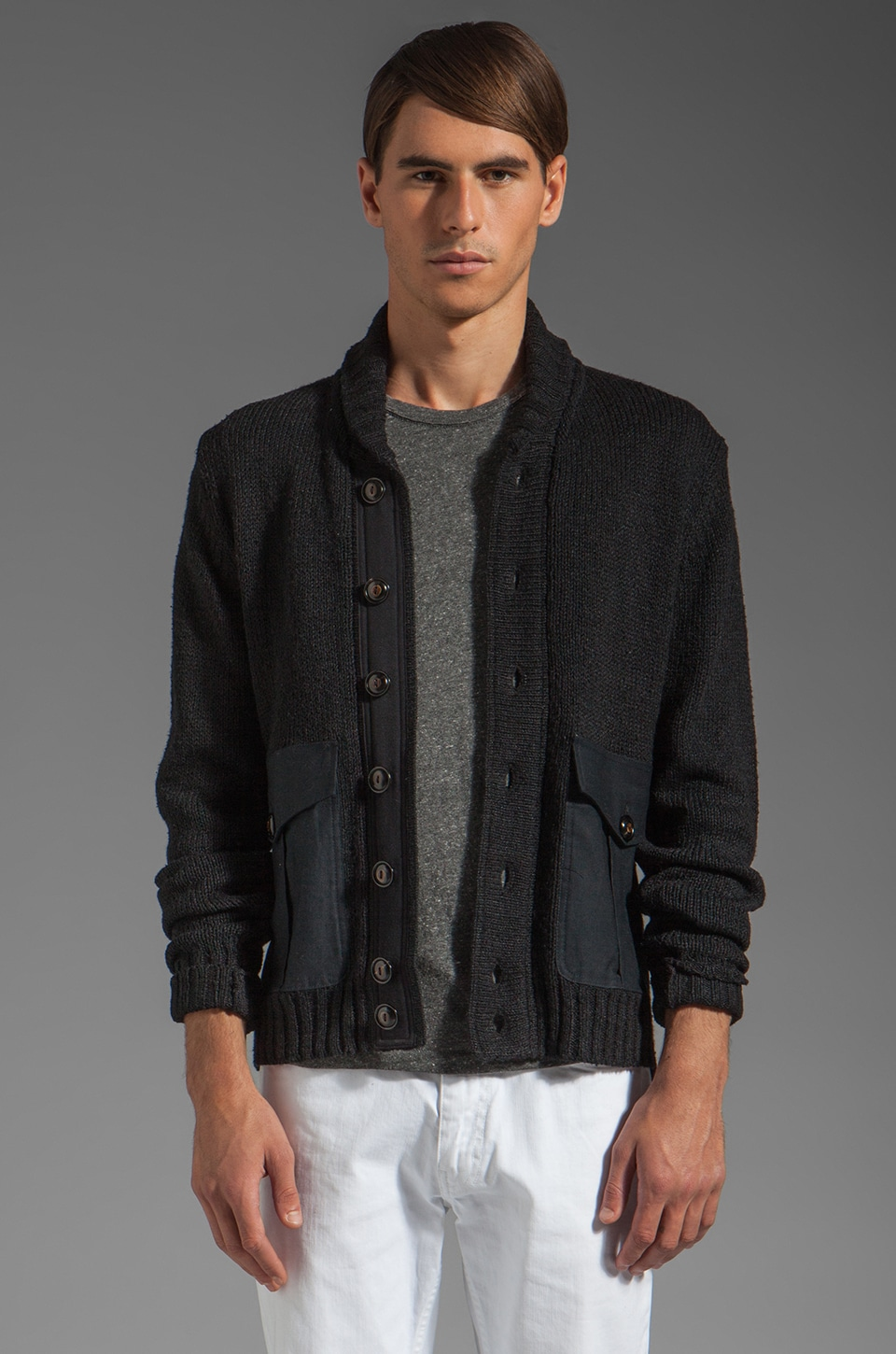 TODD SNYDER Military Shawl Jacket in Black
