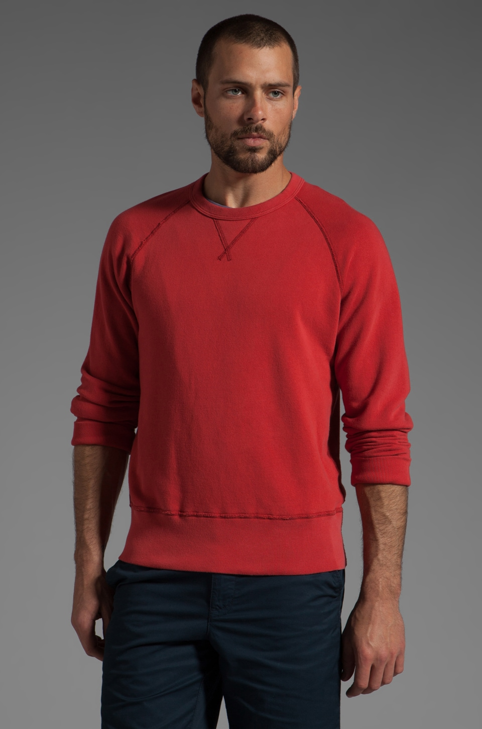 TODD SNYDER Crew Sweatshirt in Faded Red