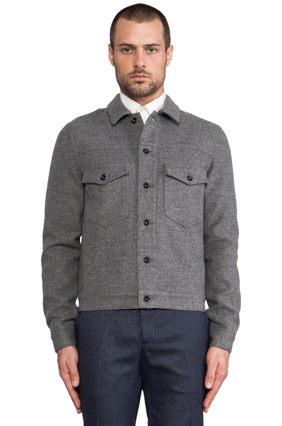 TODD SNYDER Wool Jean Jacket in Charcoal