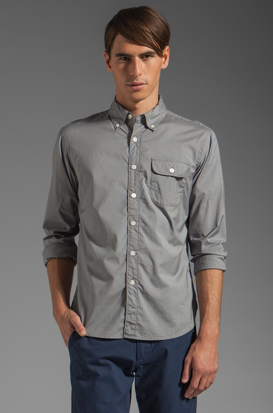 TODD SNYDER Solid Poplin Button Pocket Shirt in Grey