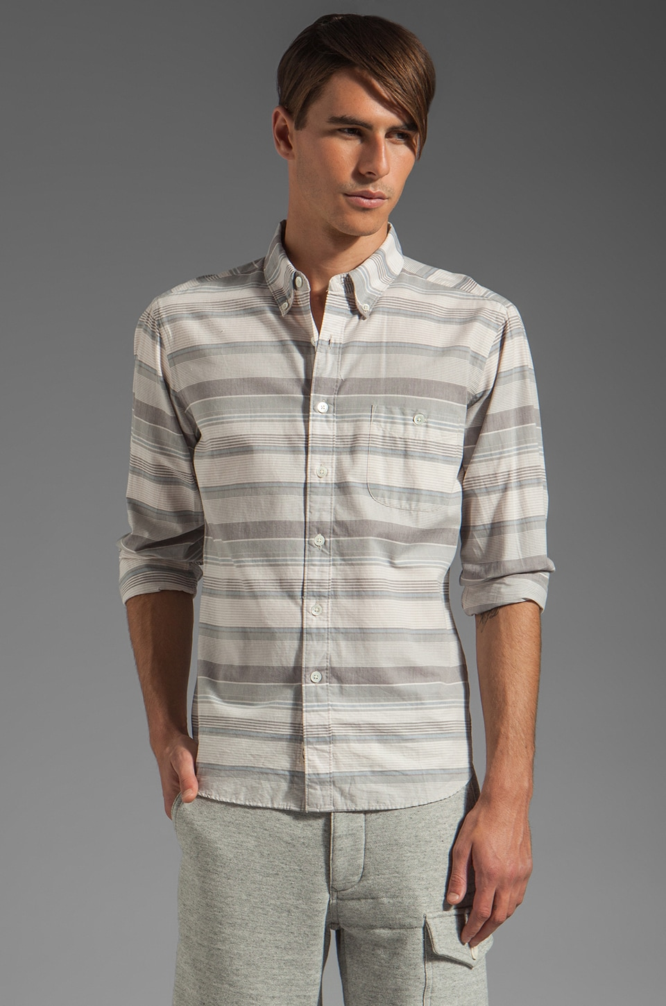 TODD SNYDER Varigated Horizontal Stripe Shirt in Blue