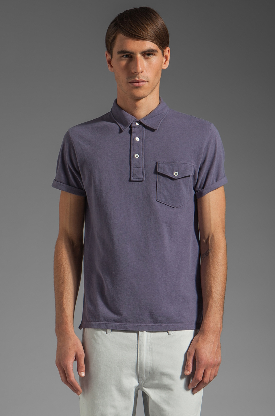 TODD SNYDER Classic Pique Polo in Blueberry