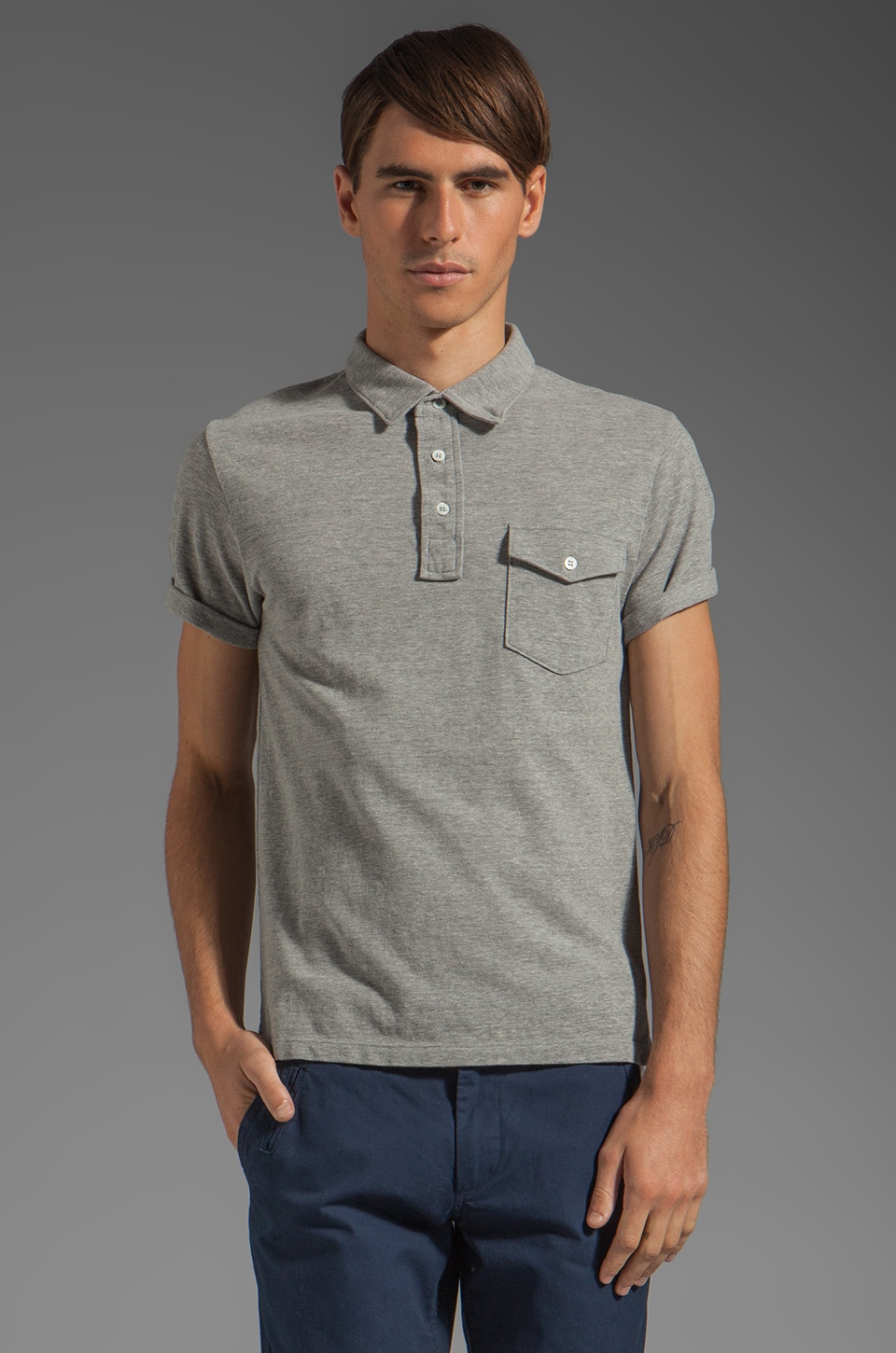 TODD SNYDER Classic Pique Polo in Grey Heather
