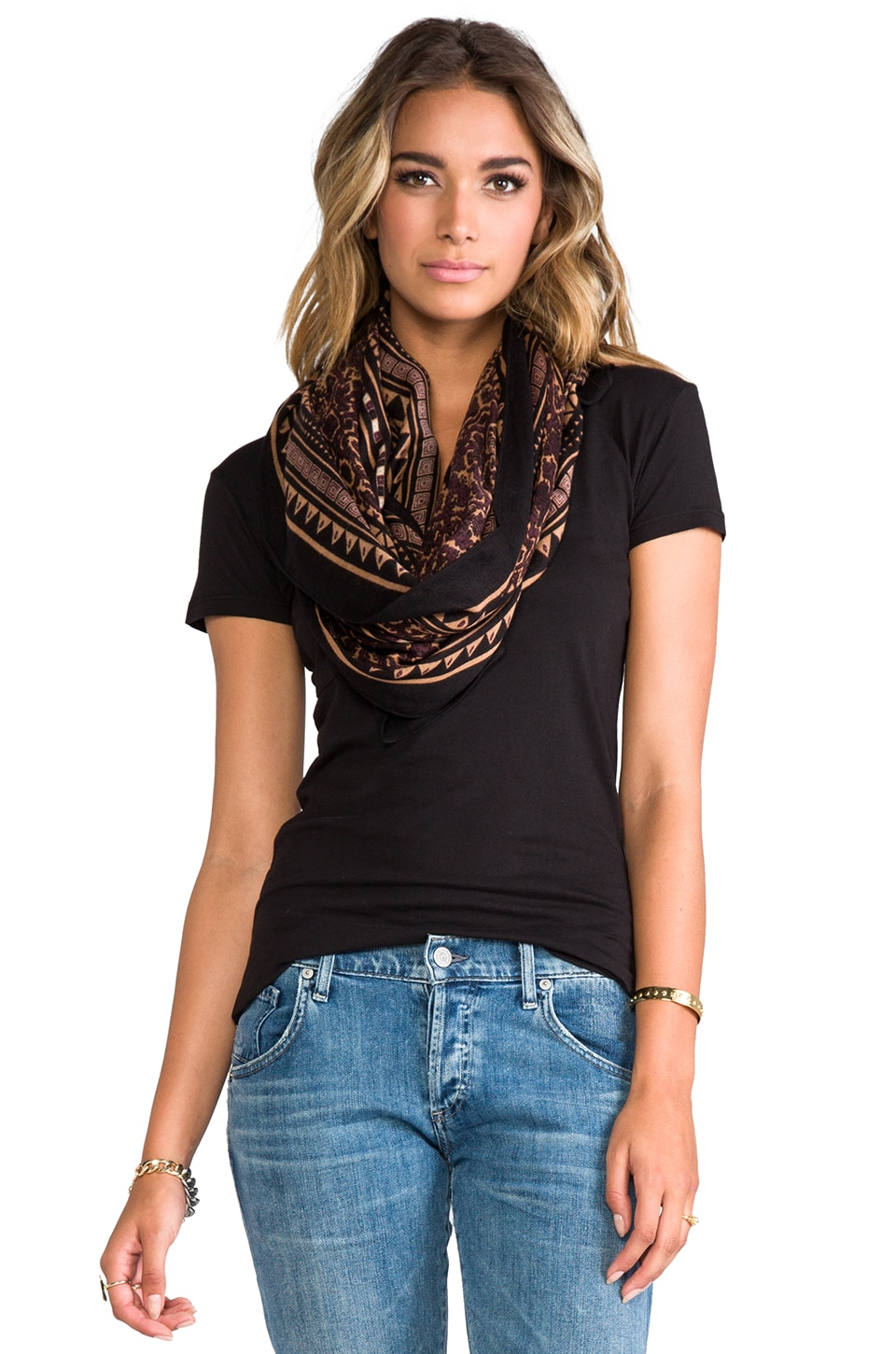 Theodora & Callum Flagstaff Wearable Art Scarf in Black Multi