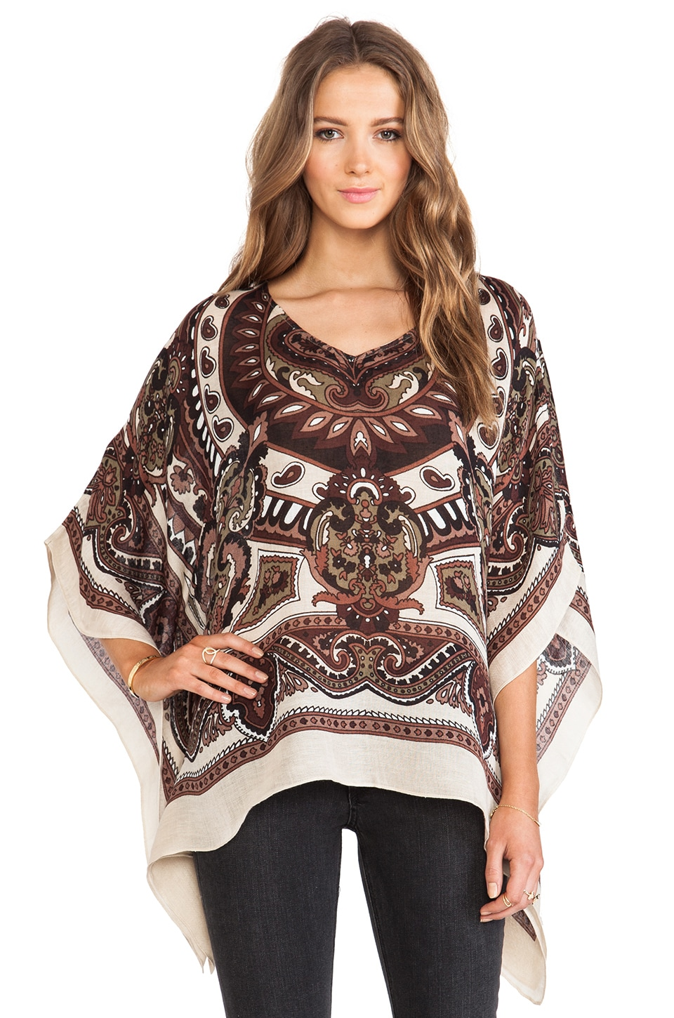 Theodora & Callum Cypress Scarf Top in Tan Multi