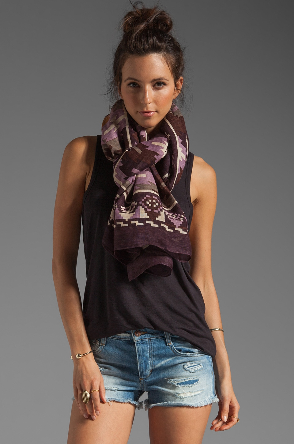 Theodora & Callum Tikal Scarf in Brown Multi