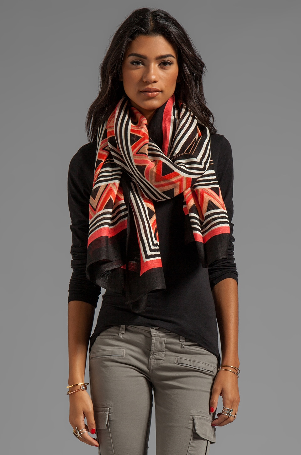 Theodora & Callum Berber Tie All Scarf in Black Multi