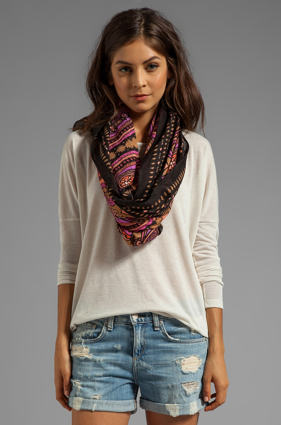 Theodora & Callum Budapest Tie All Scarf in Black Multi