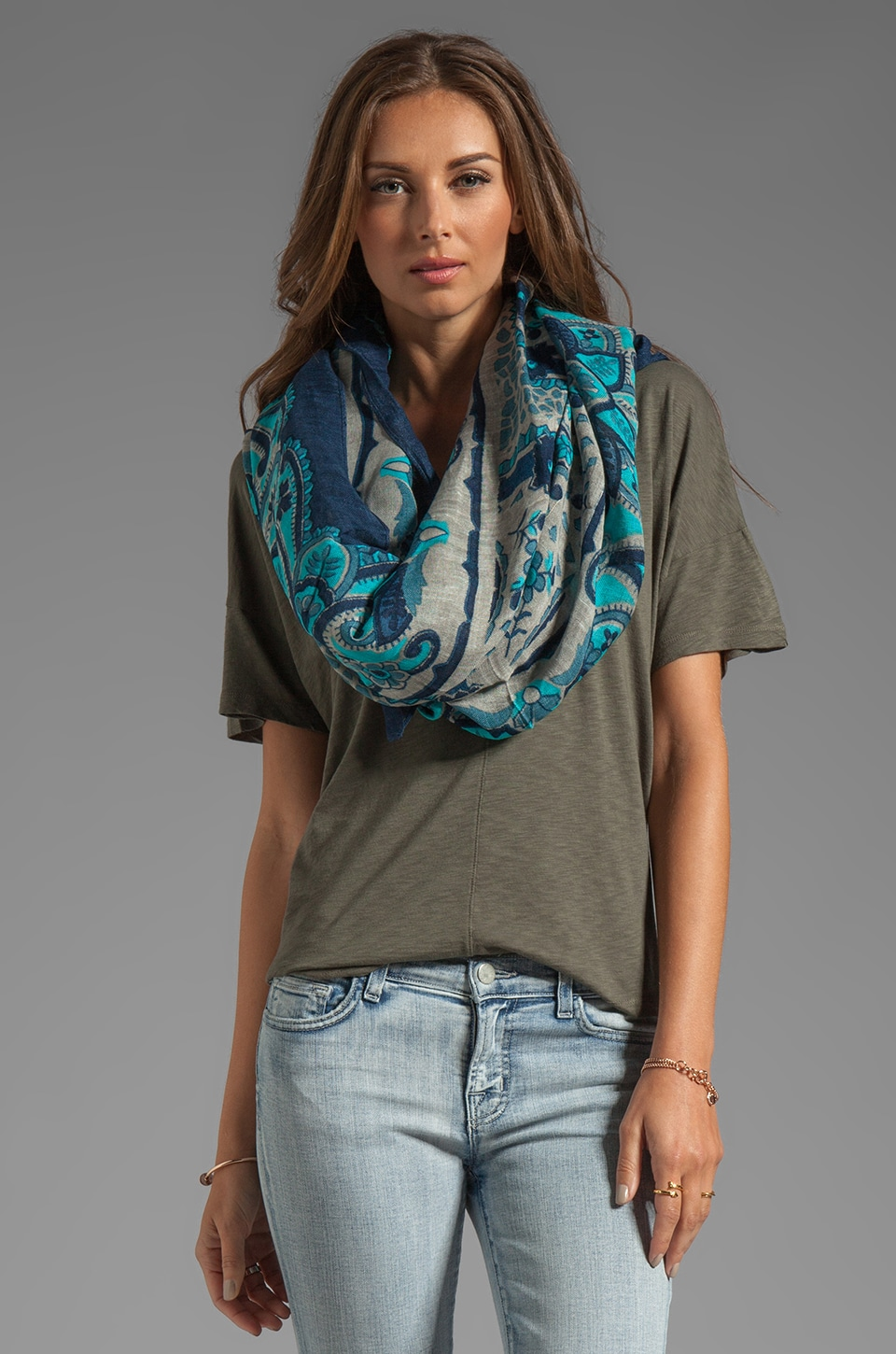 Theodora & Callum Lugano Tie All Scarf in Blue Multi