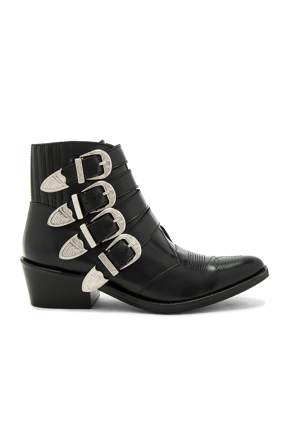 TOGA PULLA Buckled Leather Bootie in Black Polido
