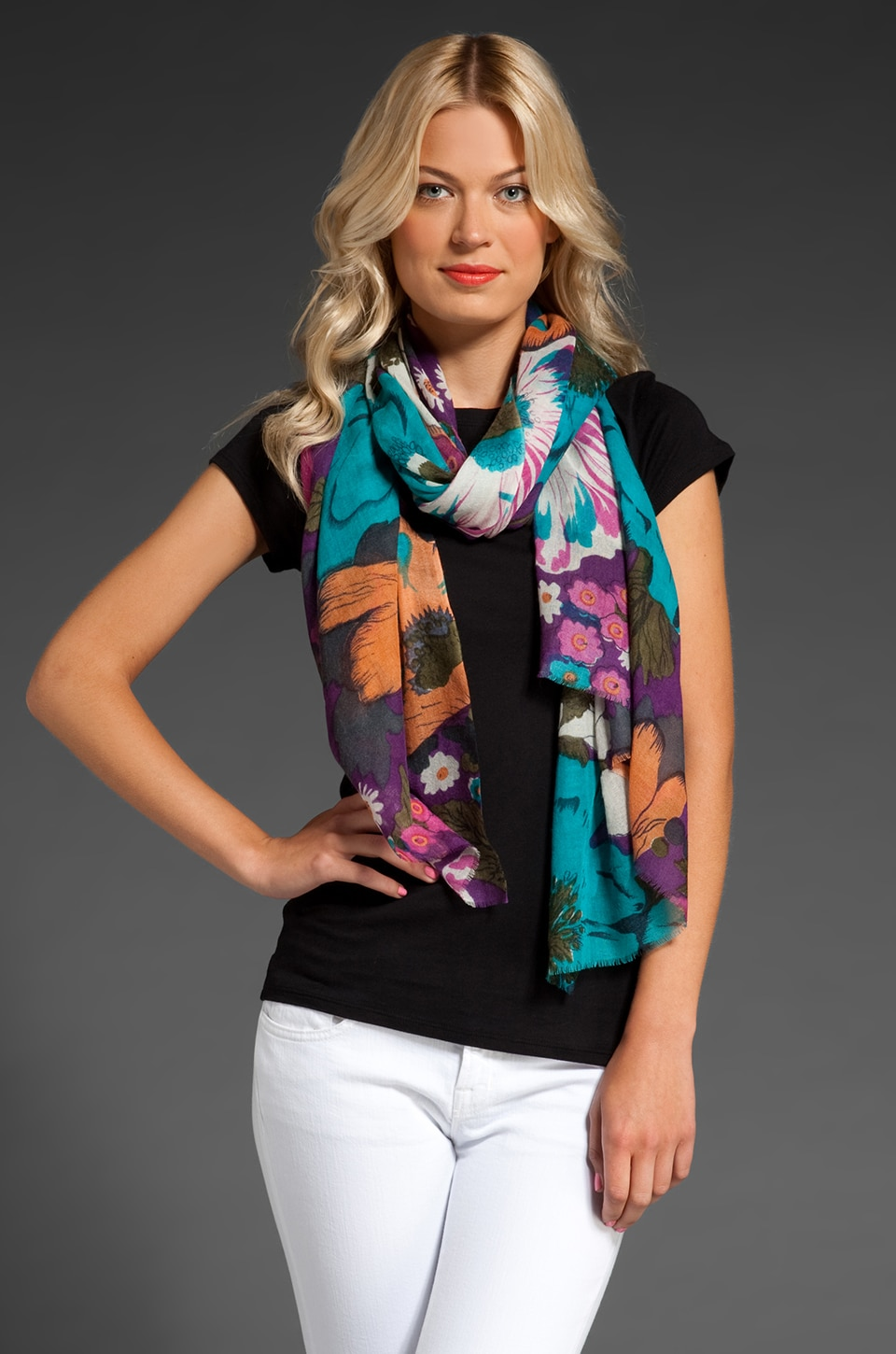 Tolani Floral Scarf in Purple