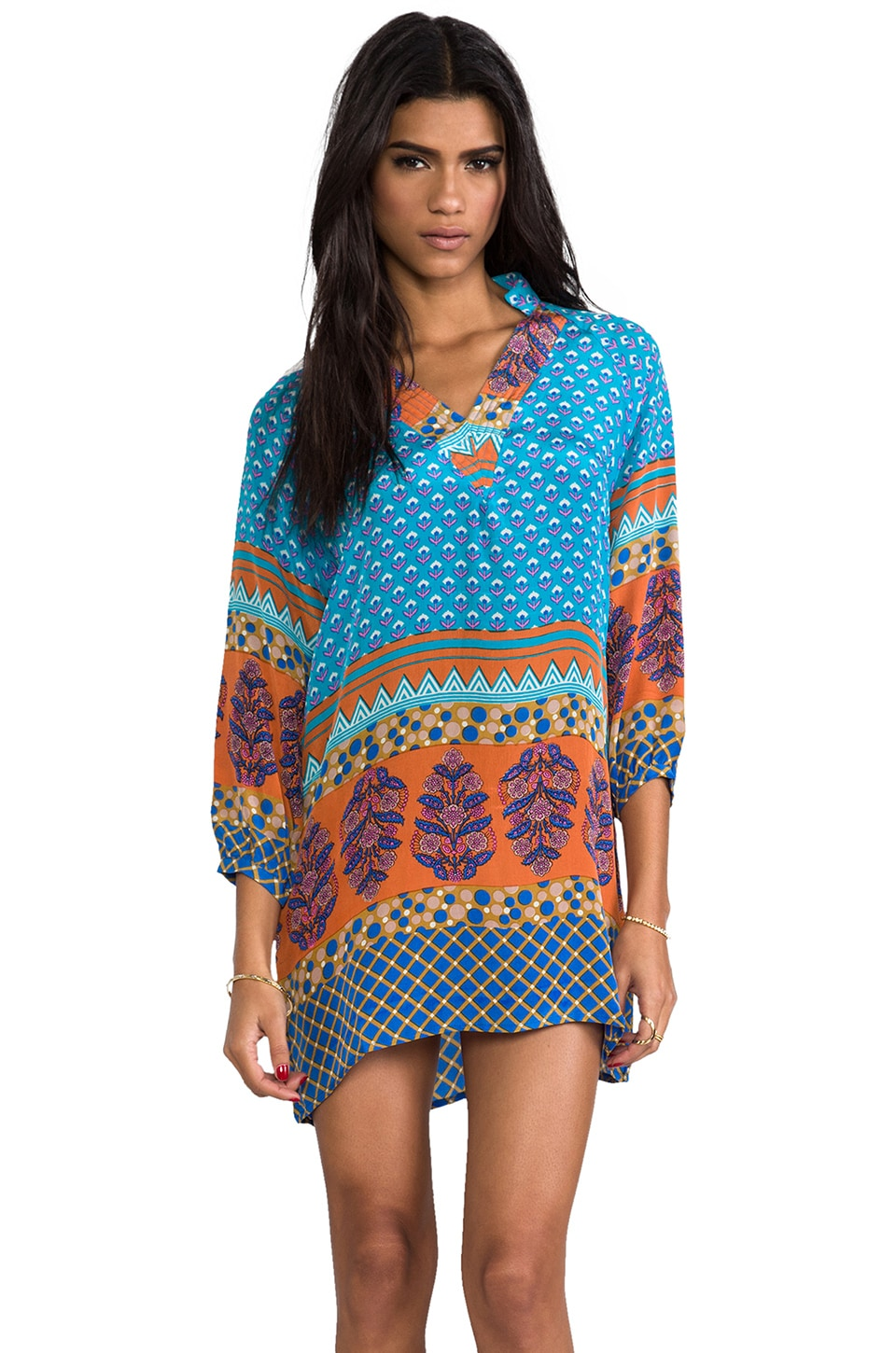 Tolani Chandra Dress in Turquoise/Orange