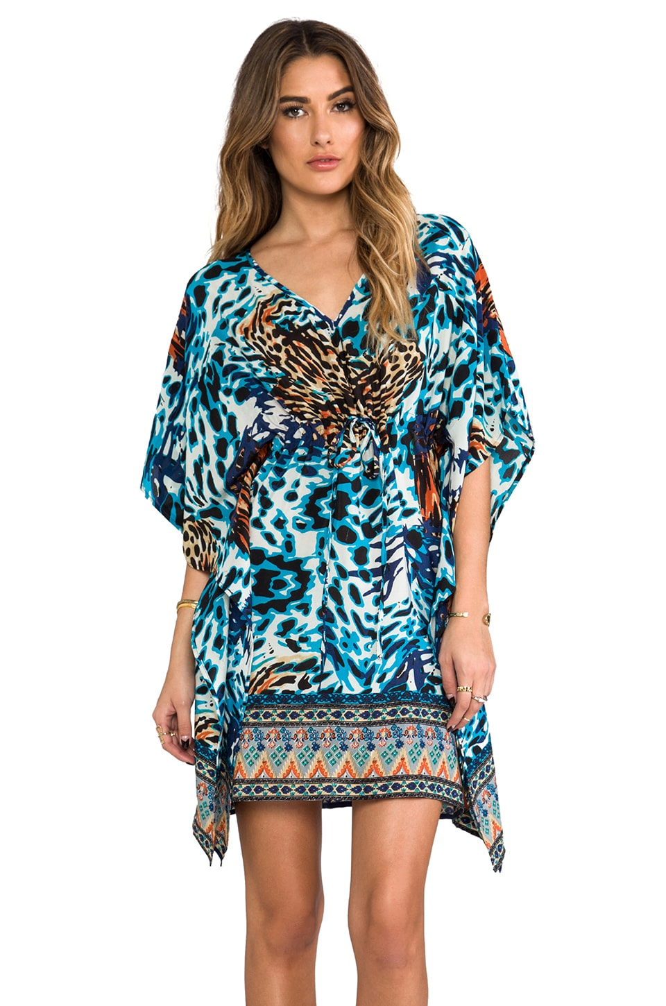 Tolani Kanika Kaftan in Blue Animal