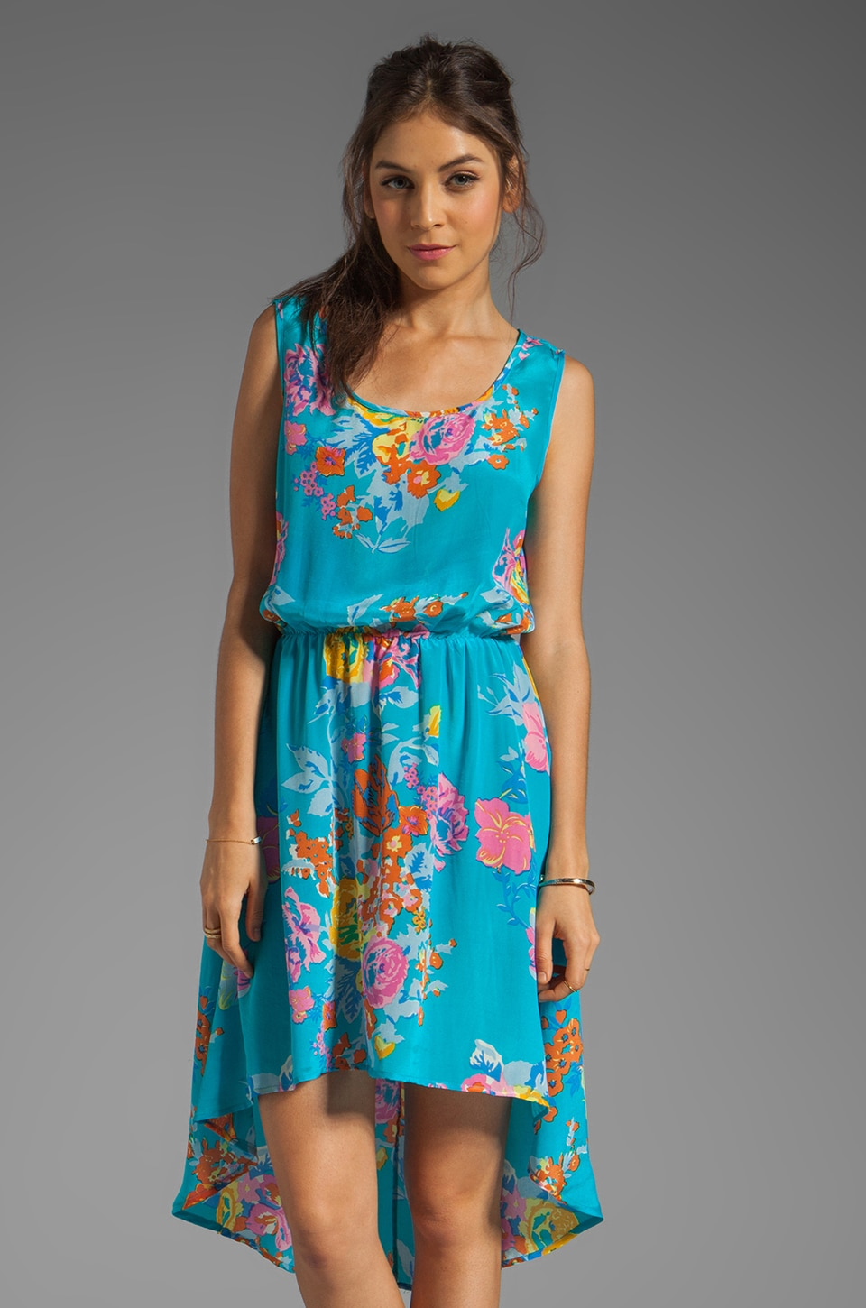 Tolani Selena Asymmetric Dress in Blue Floral