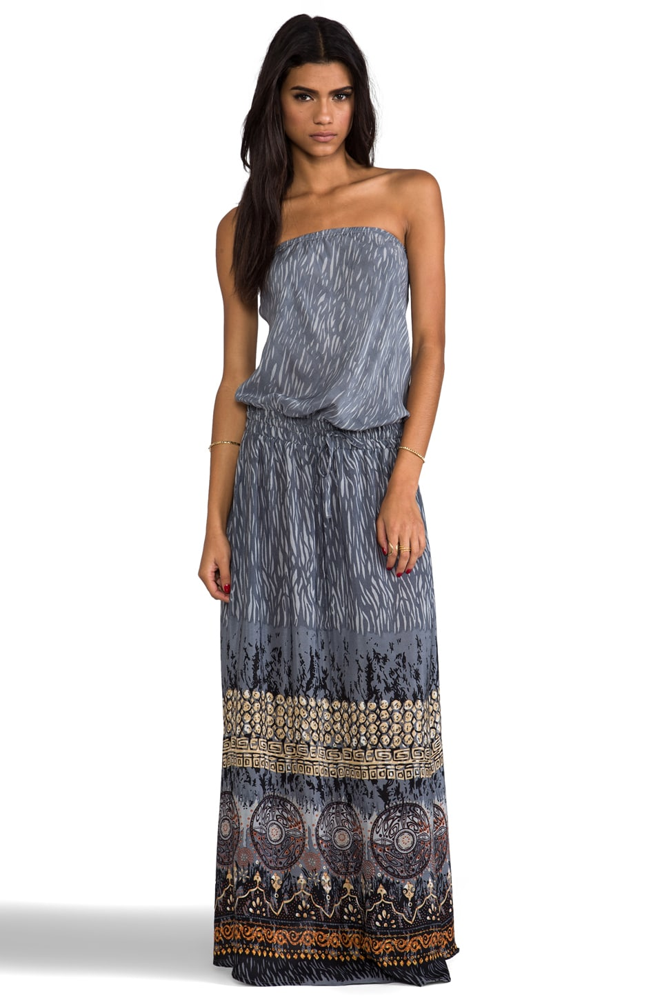 Tolani Tube Maxi Dress in Grey Print