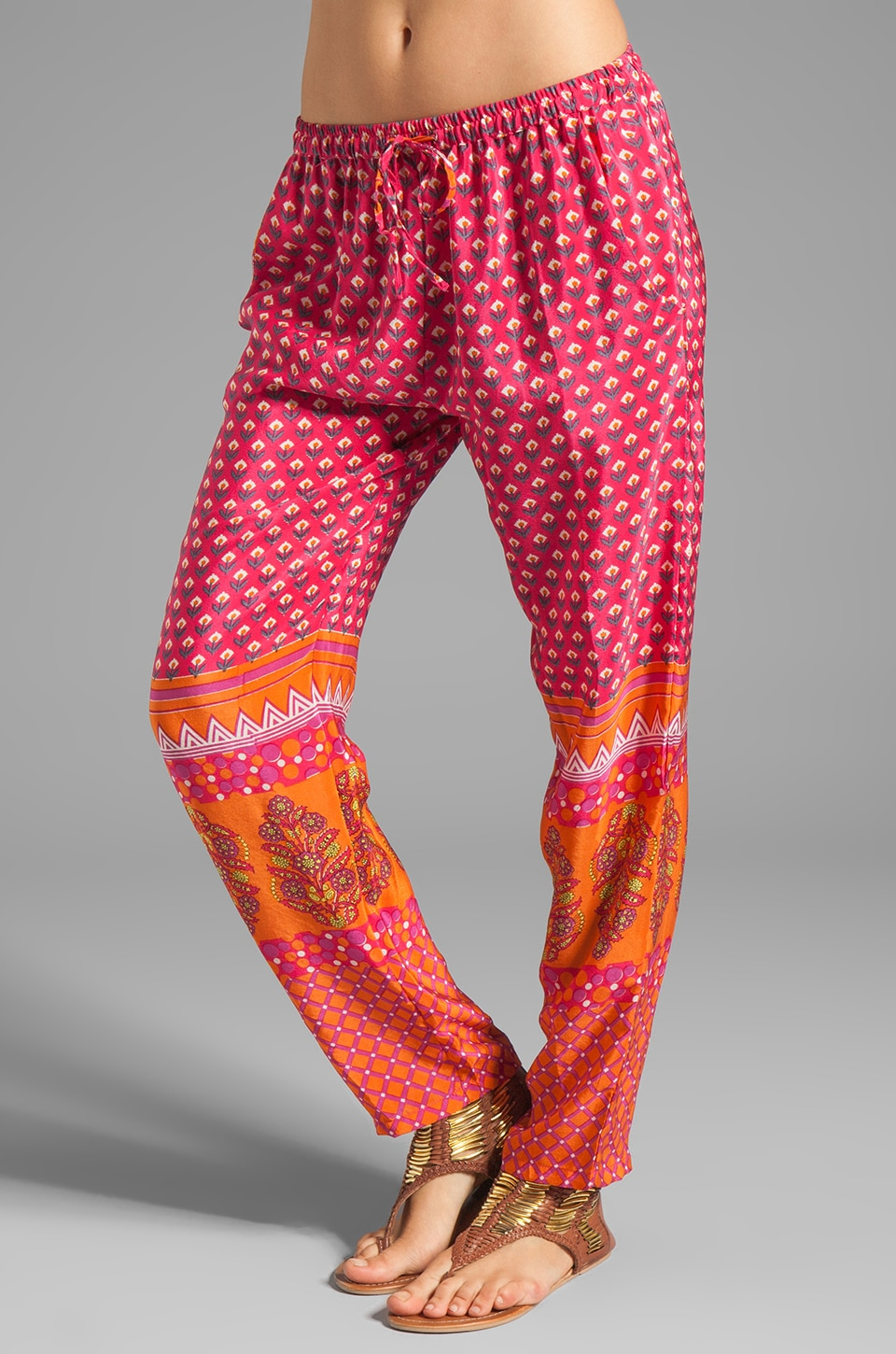 Tolani Carrie Silk Pant in Fuchsia/Orange
