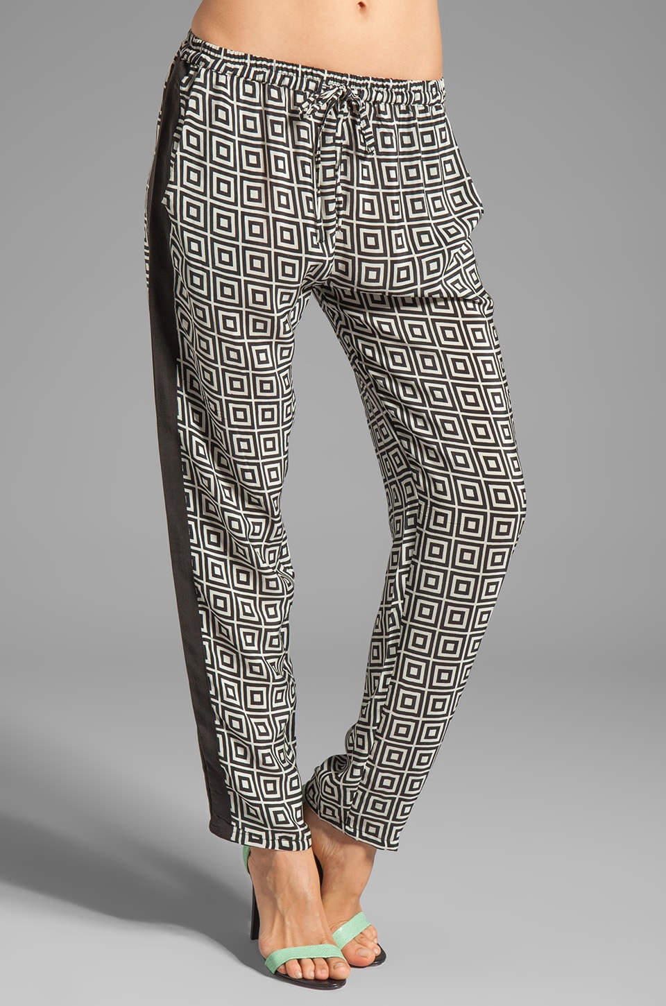 Tolani Carrie Silk Pant in Black/White Square