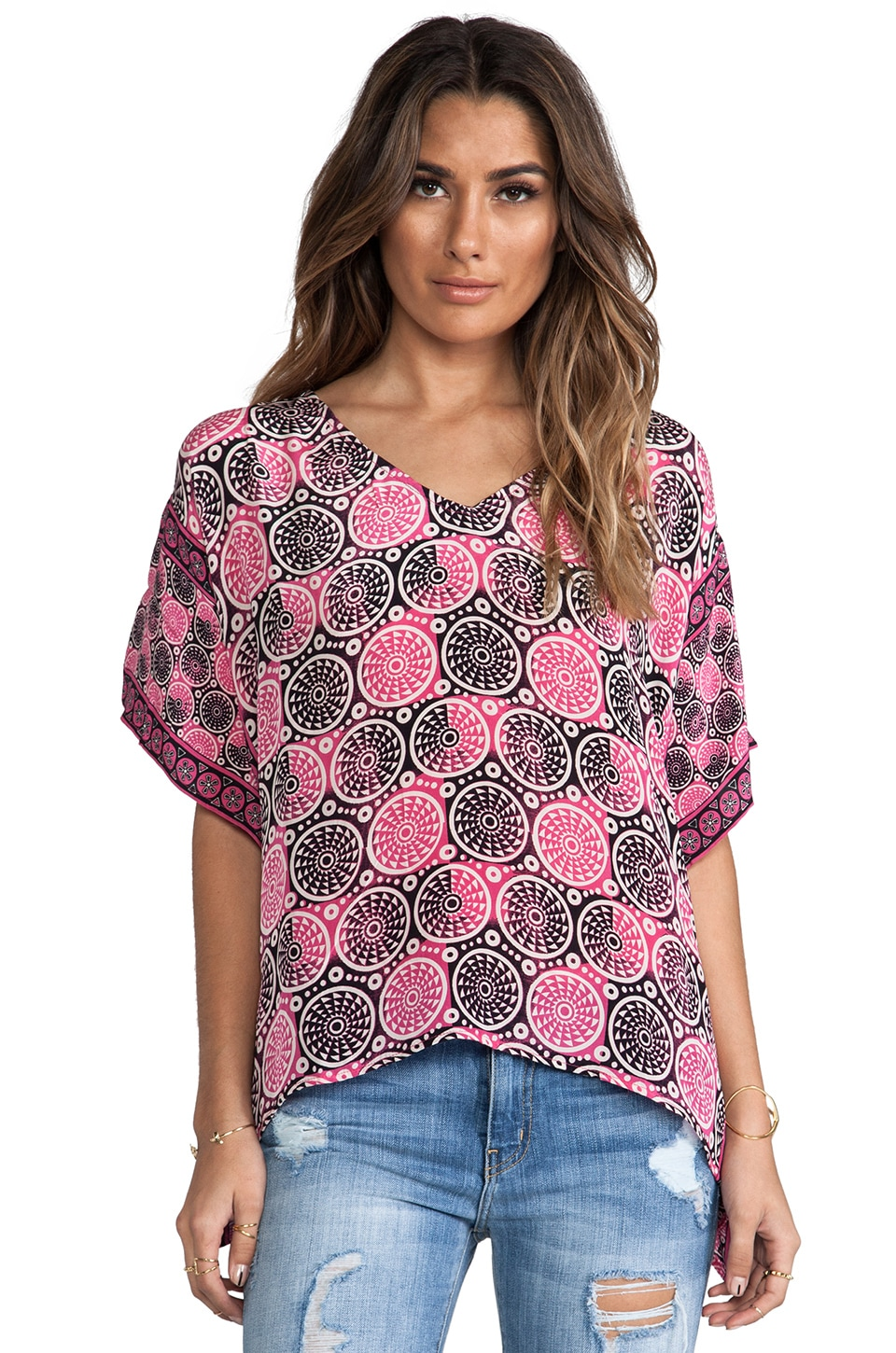 Tolani Brianna Blouse in Pink Circles