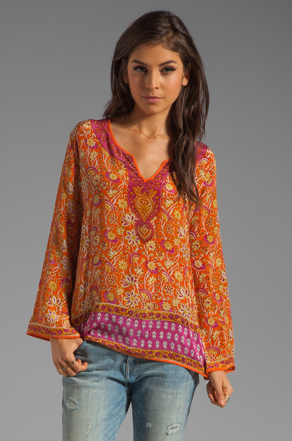 Tolani Rita Blouse in Fuchsia/Orange