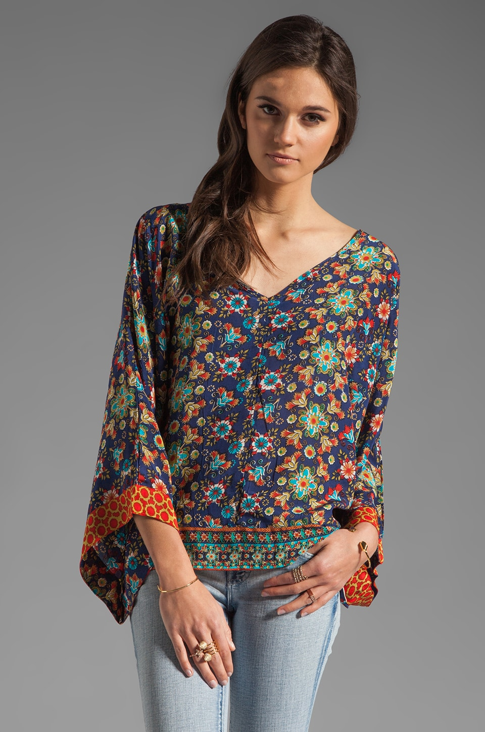 Tolani Samantha Blouse in Navy Floral