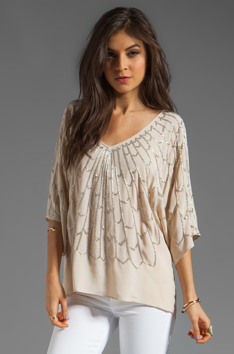 Tolani Diana Embellished Blouse in Ivory