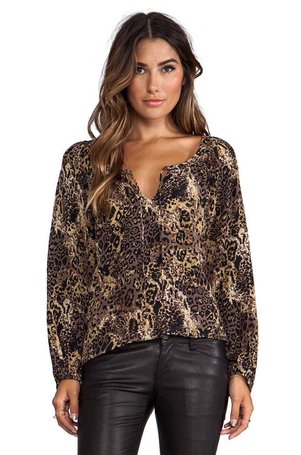 Tolani EXCLUSIVE Pamela Blouse in Brown Leopard