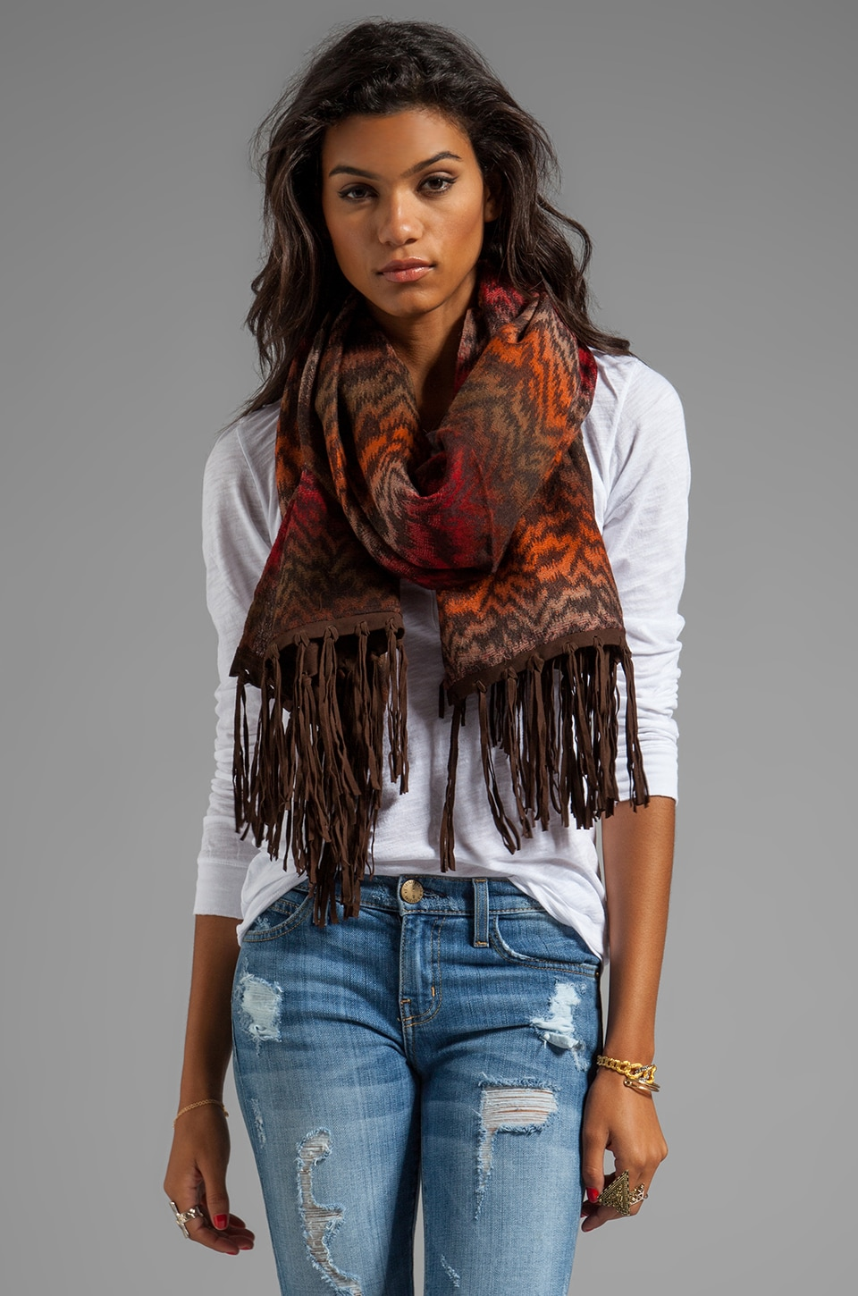 Tolani Leather Fringe Scarf in Brown