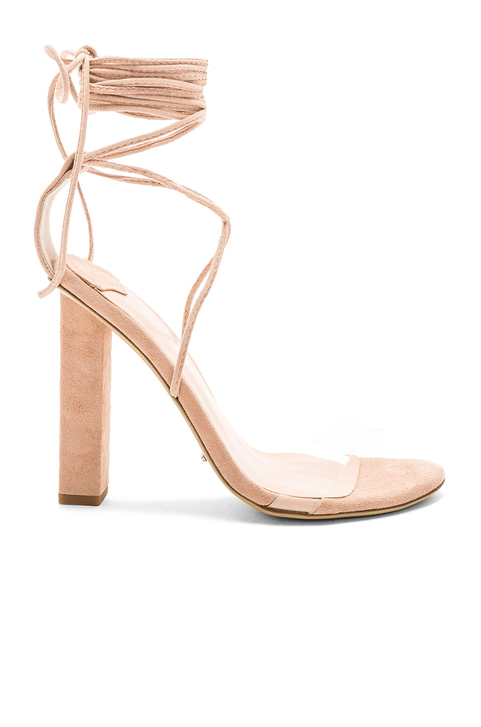 Tony Bianco Kendall Heel in Clear Vinalyte & Blush Kid Suede