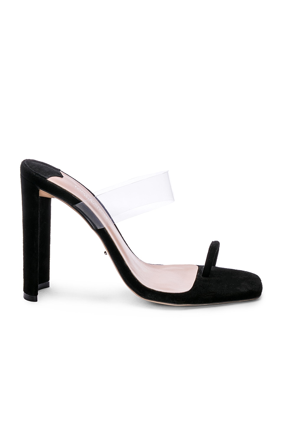 Tony Bianco x REVOLVE Sapphire Heel in Black Suede & Clear Vynalite
