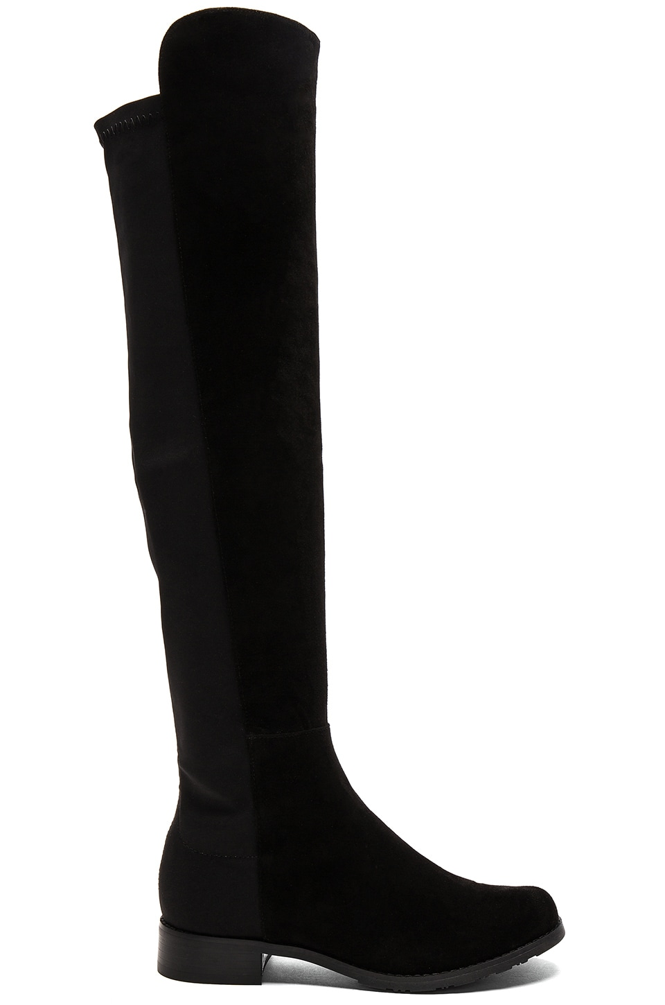 Tony Bianco Panache Boot in Black Kid Suede & Black Micro Stretch
