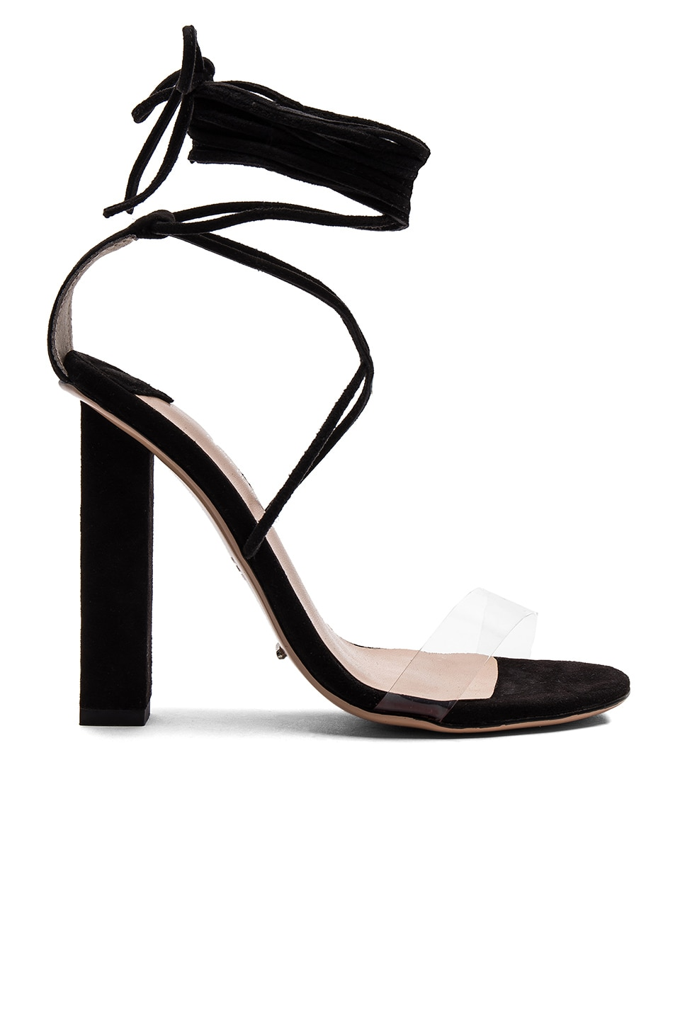Tony Bianco Kendall Heel in Clear & Black Kid Suede