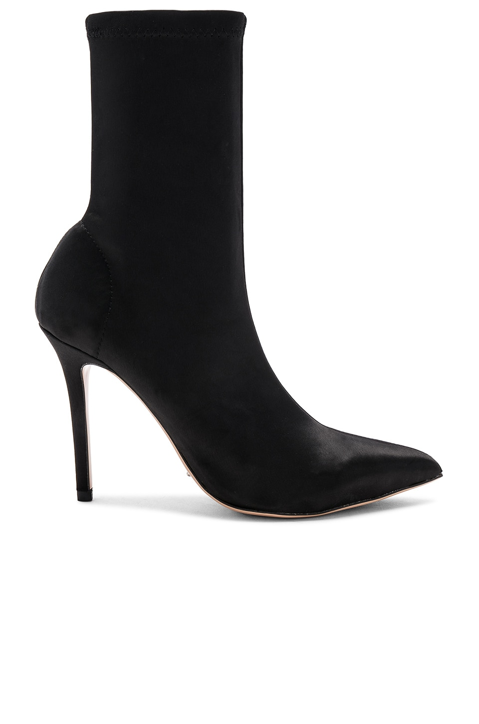 Tony Bianco Davis Bootie in Black Stretch Satin