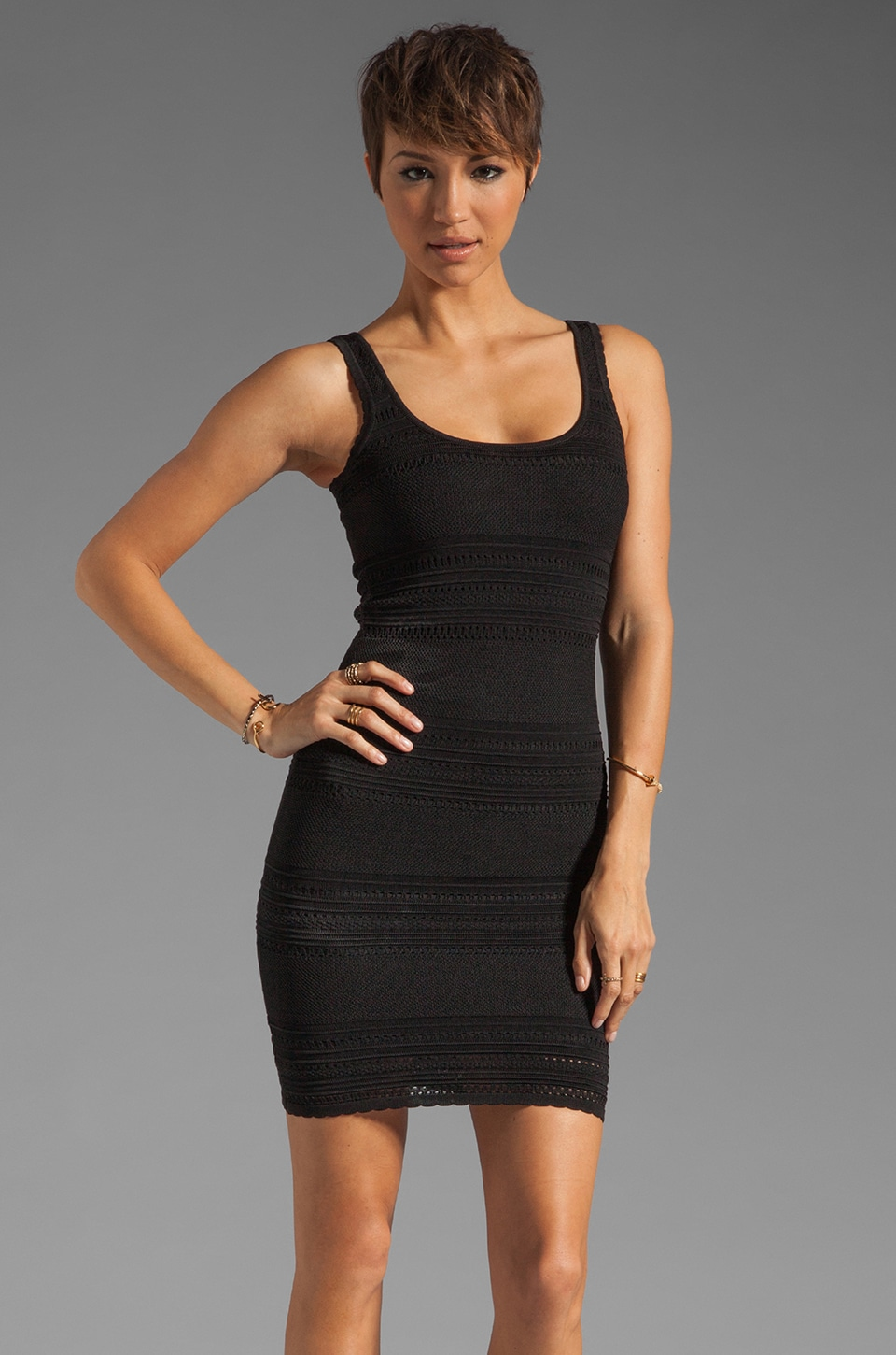 Torn by Ronny Kobo Sammy Puffy Stripe Dress in Black