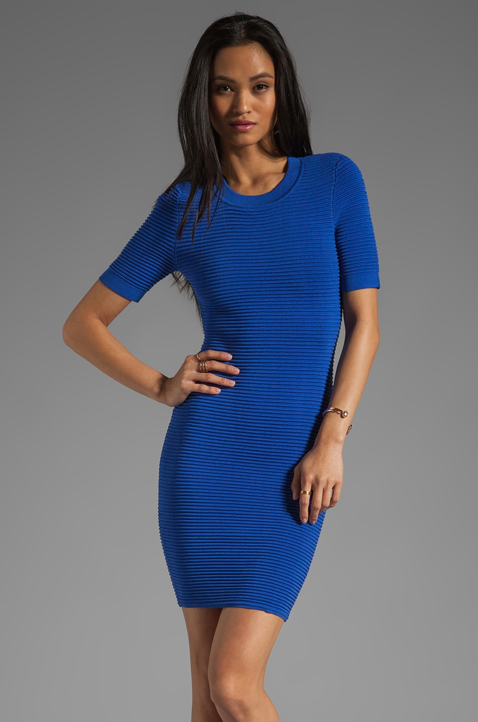 Torn by Ronny Kobo Candy Mini Ottoman Dress in Cobalt