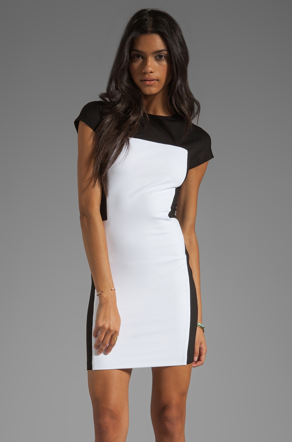 Torn by Ronny Kobo Zoara Dress in White/Black