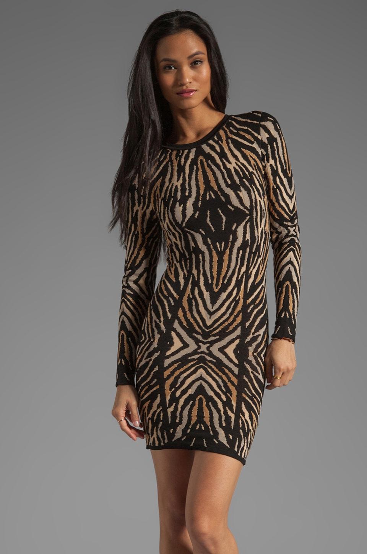 Torn by Ronny Kobo Emma Long Sleeve Zebra Jacquard Dress in Black/Natural