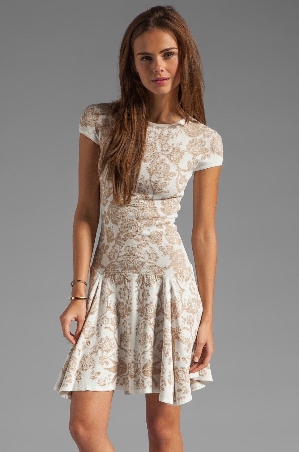 Torn by Ronny Kobo Patricia Dove Dress in White/Nude