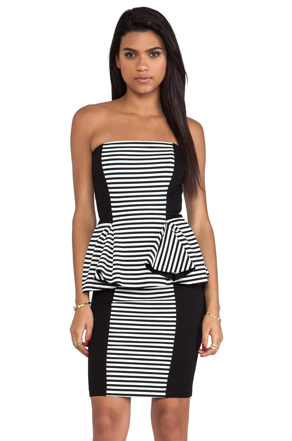 Torn by Ronny Kobo Camilla Dress in Black/White Stripe