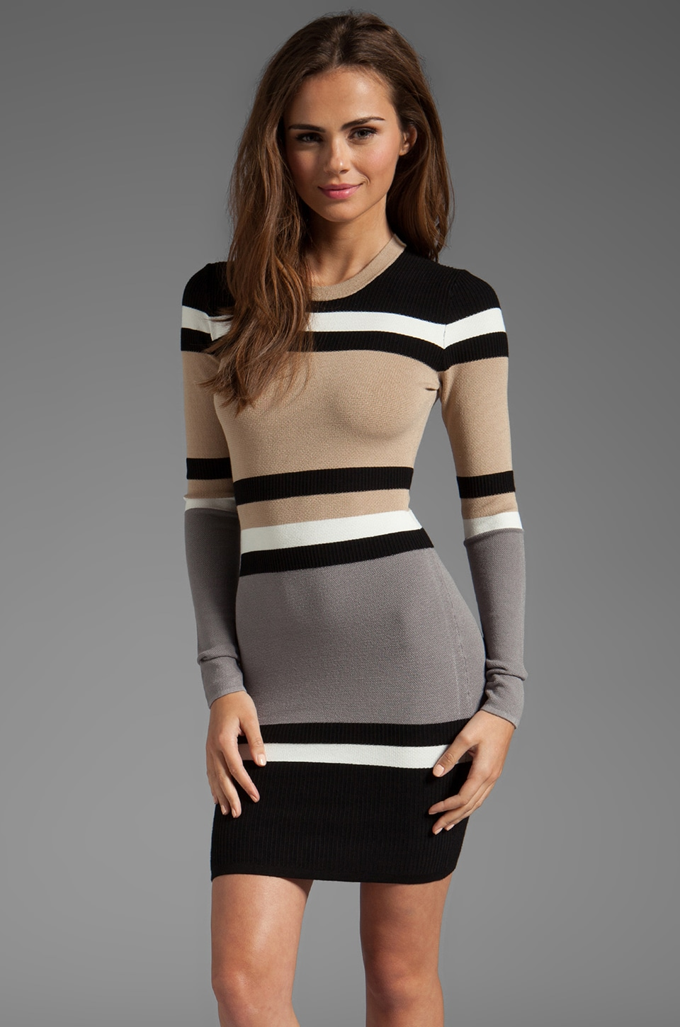Torn by Ronny Kobo Cecilia Dress in Neutral Stripes