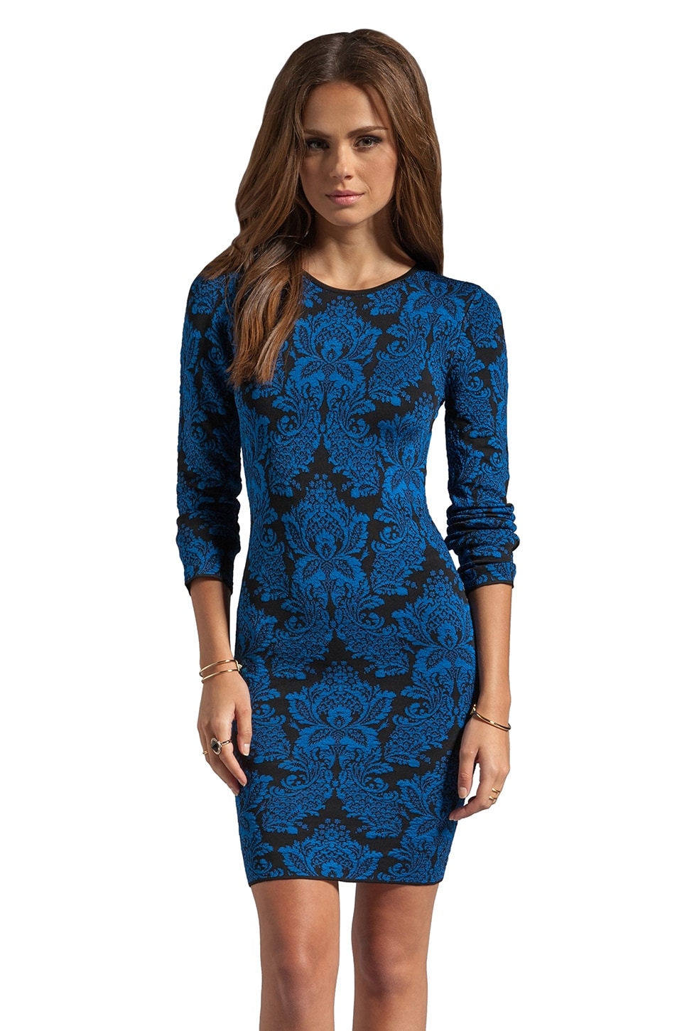 Torn by Ronny Kobo Mammie Long Sleeve Dress in Black/Blue