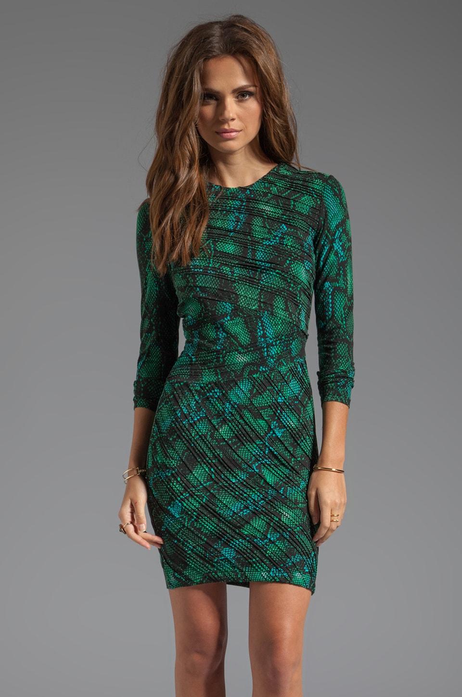 Torn by Ronny Kobo Tara Pleated Tonal Snake Dress in Green