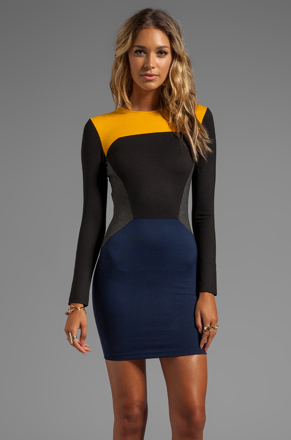 Torn by Ronny Kobo Ivy Color Block Ponti Dress in Navy Combo