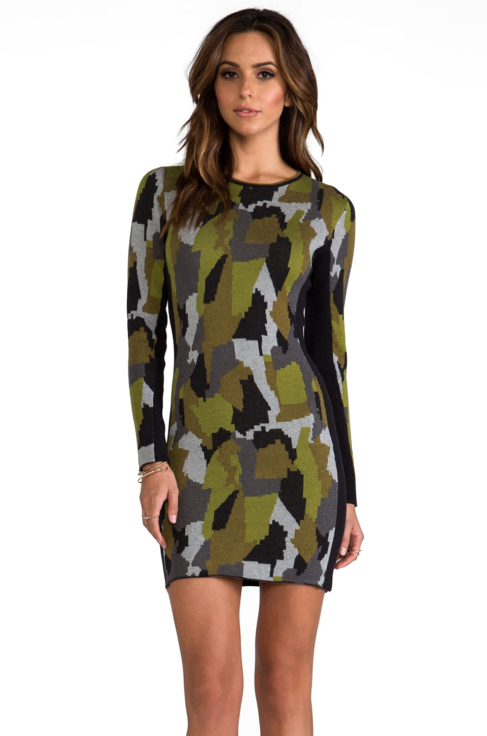 Torn by Ronny Kobo Taylor Camouflage Dress in Green